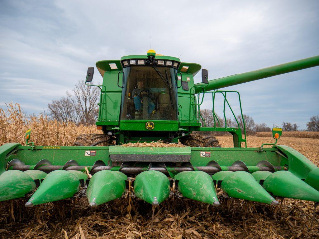 Green combine in a corn field