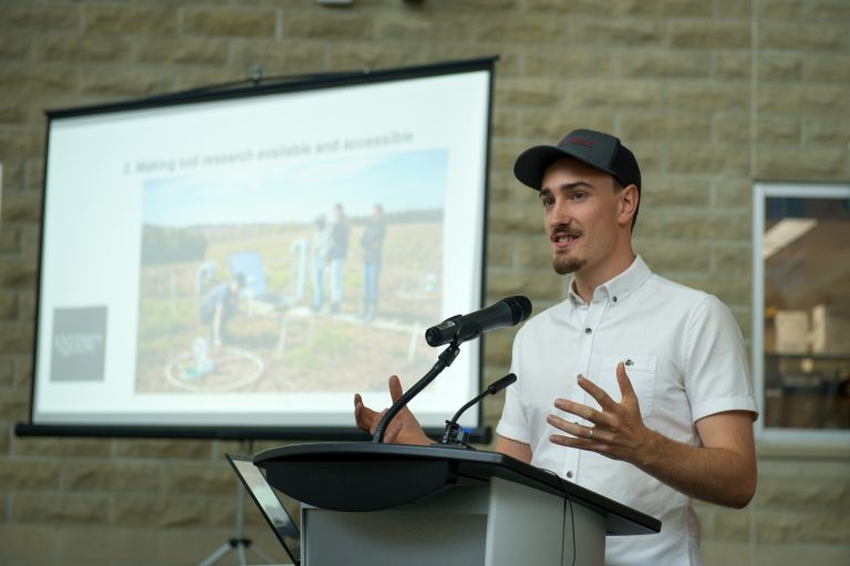 Cameron speaking at the Soils at Guelph launch in September 2019