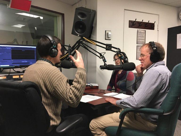 Cam, Bill, and Nicola talking in the CFRU recording studio